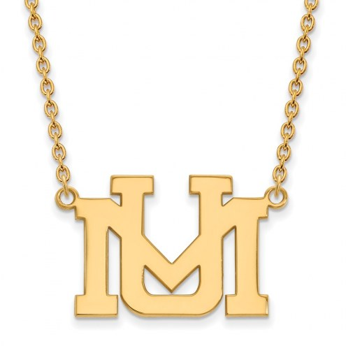 Montana Grizzlies Sterling Silver Gold Plated Large Pendant Necklace