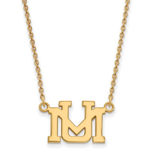 Montana Grizzlies Sterling Silver Gold Plated Small Pendant Necklace