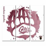 Montana Grizzlies Triptych Watercolor Canvas Wall Art