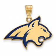 Montana State Bobcats Sterling Silver Gold Plated Large Enameled Pendant