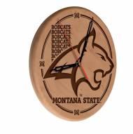 Montana State Bobcats Laser Engraved Wood Clock