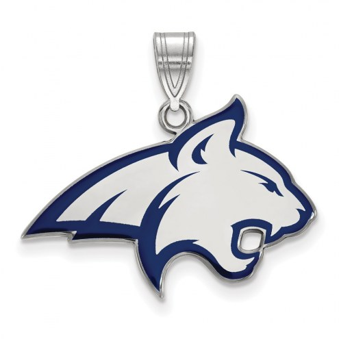 Montana State Bobcats Sterling Silver Large Enameled Pendant