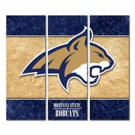 Montana State Bobcats Triptych Double Border Canvas Wall Art