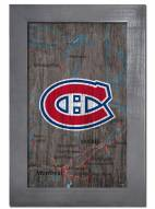 """Montreal Canadiens 11"""" x 19"""" City Map Framed Sign"""