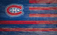 """Montreal Canadiens 11"""" x 19"""" Distressed Flag Sign"""