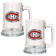 Montreal Canadiens 2-Piece 15 Oz. Glass Beer Mugs Set - Primary Logo