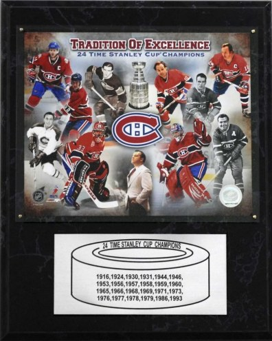 "Montreal Canadiens 12"" x 15"" 24-Time Stanley Cup Champions Plaque"