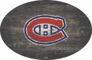 """Montreal Canadiens 46"""" Distressed Wood Oval Sign"""