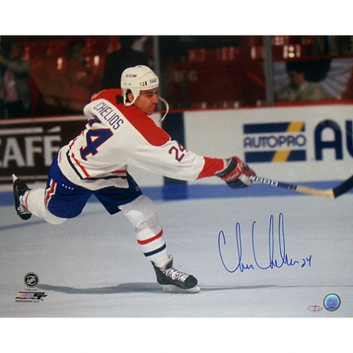 "Montreal Canadiens Chris Chelios Slap Shot Signed 16"" x 20"" Photo"