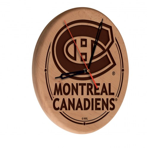 Montreal Canadiens Laser Engraved Wood Clock