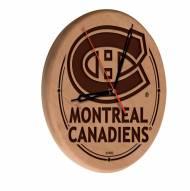 Montreal Canadiens Laser Engraved Wood Clock
