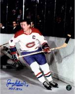 "Montreal Canadiens Jean Beliveau Signed Skating 8 x 10 Photo w/ ""HOF 1972"""