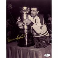 Montreal Canadiens Maurice Rocket Richard Signed 8 x 10 Photo with Stanley Cup Signed in Gold