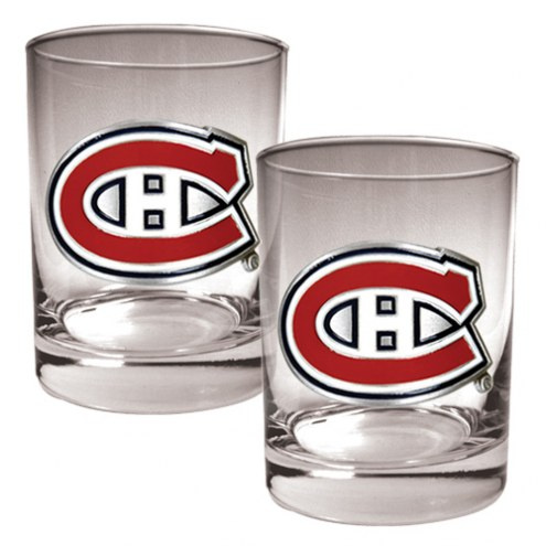 Montreal Canadiens NHL Rocks Glass - Set of 2