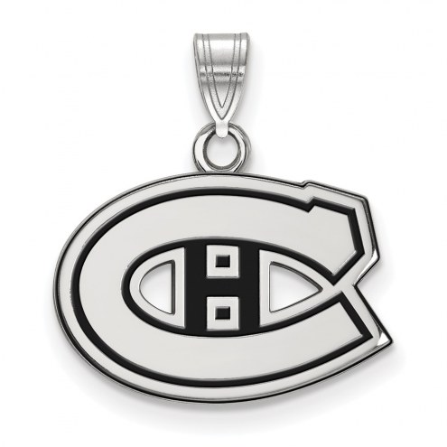 Montreal Canadiens Sterling Silver Small Enamel Pendant