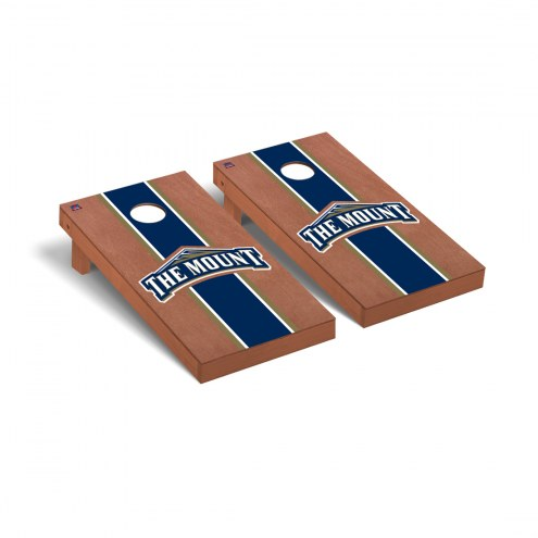 Mount St. Mary's Mountaineers Rosewood Stained Stripe Cornhole Game Set
