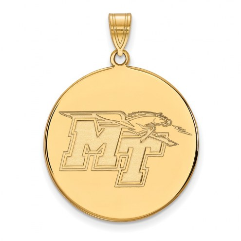 Middle Tennessee State Blue Raiders Sterling Silver Gold Plated Extra Large Disc Pendant