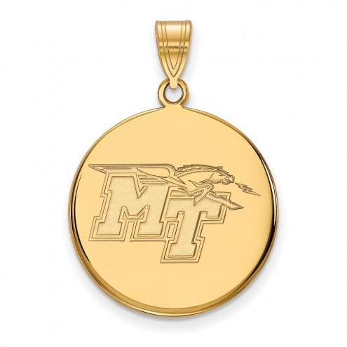 Middle Tennessee State Blue Raiders Sterling Silver Gold Plated Large Disc Pendant