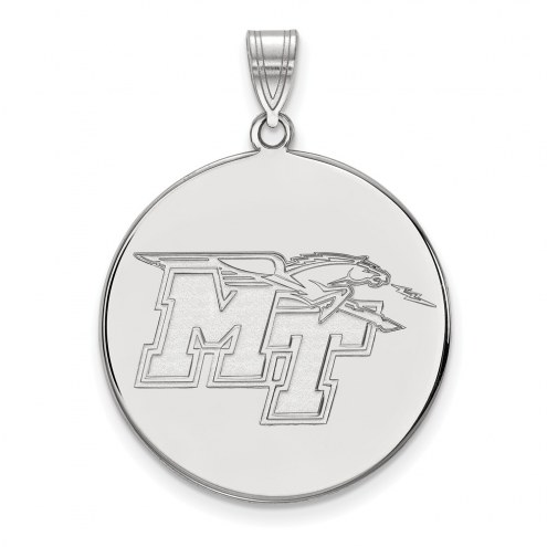 Middle Tennessee State Blue Raiders Sterling Silver Extra Large Disc Pendant