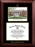 Murray State Racers Gold Embossed Diploma Frame with Campus Images Lithograph