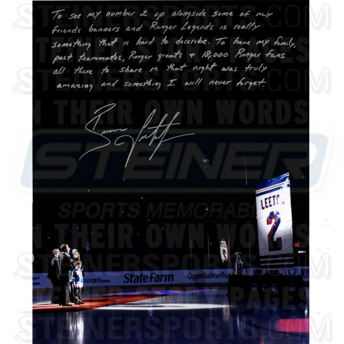 """Brian Leetch Retirement Night Story Signed 16"""" x 20"""" Photo"""