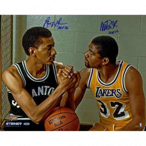 "George Gervin & Magic Johnson Hand Shake w/ ""HOF"" Signed 16"" x 20"" Photo"