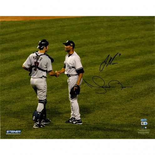 "Joe Mauer & Mariano Rivera Shaking Hands Signed 16"" x 20"" Photo"