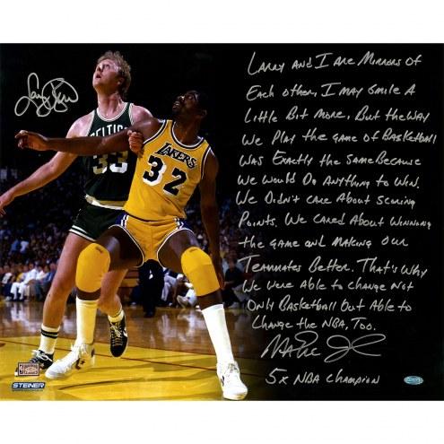 "Larry Bird/Magic Johnson NBA Finals Story Photo Signed 16"" x 20"" Photo"