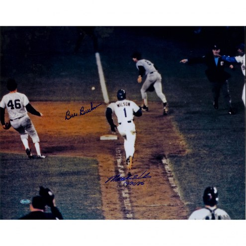 "Mookie Wilson/Bill Buckner MLB w/ ""10/25/86"" Signed 16"" x 20"" Photo"