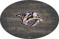 "Nashville Predators 46"" Distressed Wood Oval Sign"