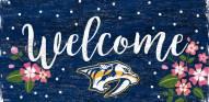 """Nashville Predators 6"""" x 12"""" Floral Welcome Sign"""