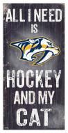 "Nashville Predators 6"" x 12"" Hockey & My Cat Sign"