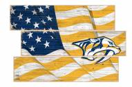 Nashville Predators Flag 3 Plank Sign