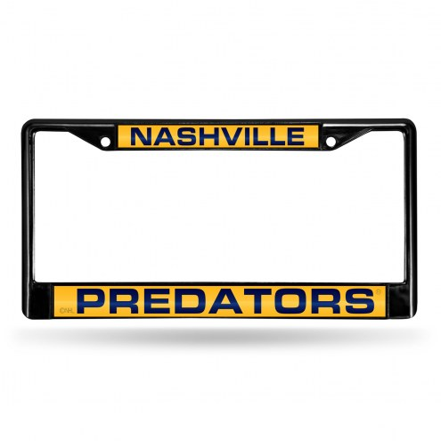 Nashville Predators Laser Black License Plate Frame