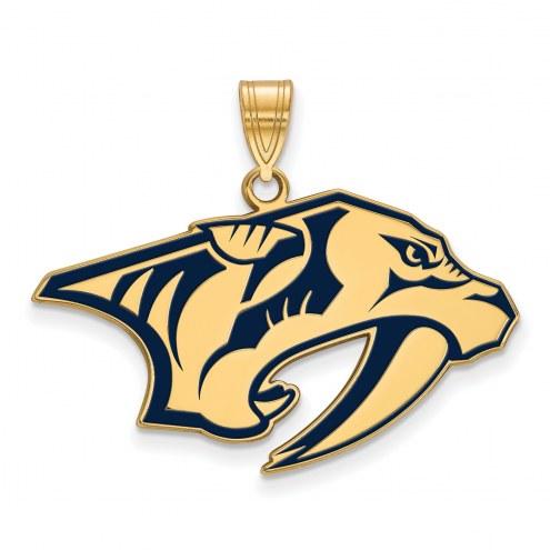 Nashville Predators Sterling Silver Gold Plated Large Enameled Pendant