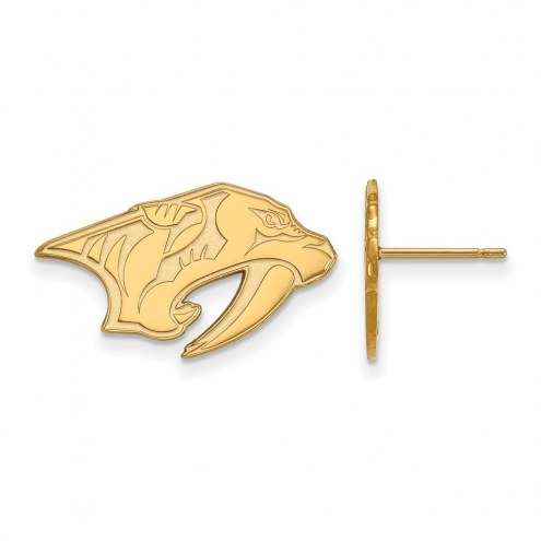Nashville Predators Sterling Silver Gold Plated Small Post Earrings