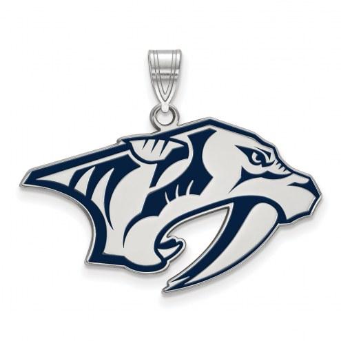 Nashville Predators Sterling Silver Large Enameled Pendant