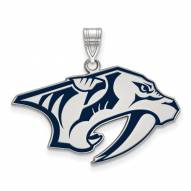 Nashville Predators Sterling Silver Large Enameled Pendant