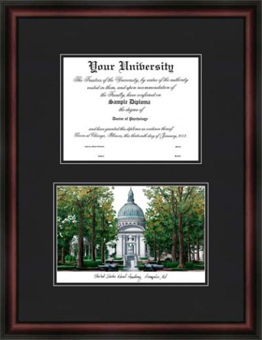 U.S. Naval Academy Diplomate Framed Lithograph with Diploma Opening
