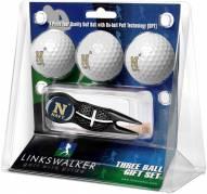 Navy Midshipmen Black Crosshair Divot Tool & 3 Golf Ball Gift Pack