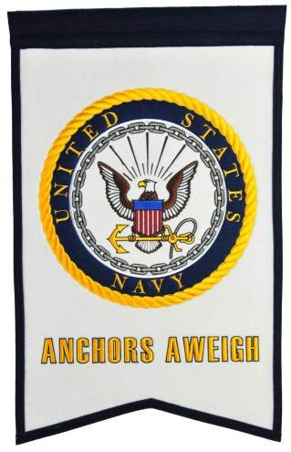 Navy Midshipmen Crest White Banner