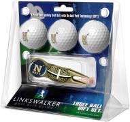 Navy Midshipmen Gold Crosshair Divot Tool & 3 Golf Ball Gift Pack