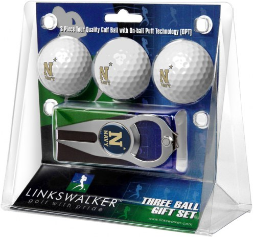 Navy Midshipmen Golf Ball Gift Pack with Hat Trick Divot Tool