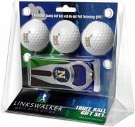 Navy Midshipmen Golf Ball Gift Pack with Hat Trick Divot Tool