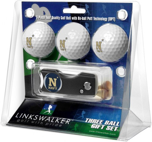 Navy Midshipmen Golf Ball Gift Pack with Spring Action Divot Tool