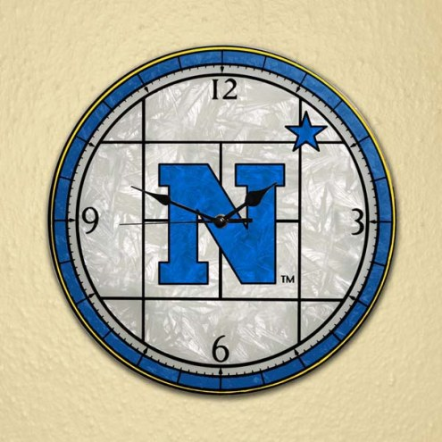 Navy Midshipmen NCAA Stained Glass Wall Clock