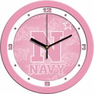 Navy Midshipmen Pink Wall Clock