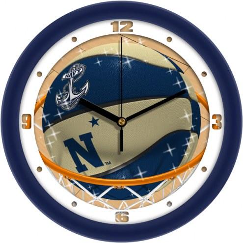 Navy Midshipmen Slam Dunk Wall Clock