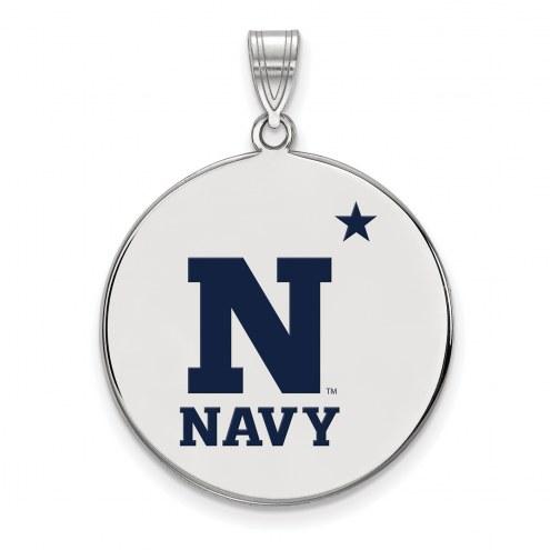 Navy Midshipmen Sterling Silver Extra Large Enameled Disc Pendant