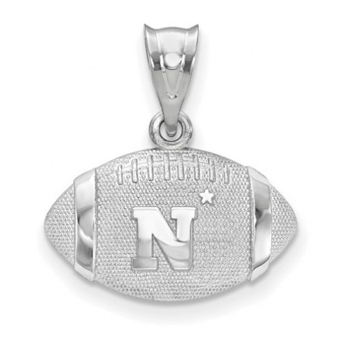 Navy Midshipmen Sterling Silver Football with Logo Pendant